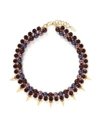 Joomi Lim - Purple Spike Crystal Faux Pearl Double Strand Necklace - Lyst