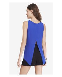 Express - Blue Split Back Tank - Lyst