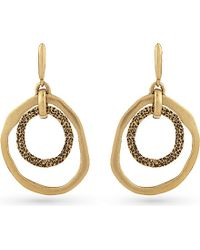 Oscar de la Renta | Metallic Circle Drop Hoop Earrings | Lyst