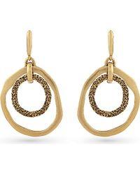 Oscar de la Renta - Metallic Circle Drop Hoop Earrings - Lyst