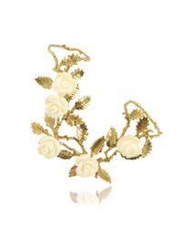 Bernard Delettrez - Metallic Thumb-forefinger Bronze Ring W/white Resin Roses - Lyst