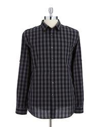 DKNY | Black Checkered Button-Down Shirt for Men | Lyst