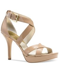 Michael Kors | Natural Michael Evie Platform Sandals | Lyst