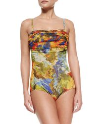 Jean Paul Gaultier   Multicolor Printed Ruched-top One-piece Swimsuit   Lyst