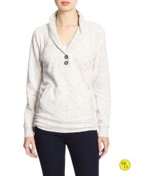 Banana Republic | Gray Factory Marled Shawl-collar Pullover | Lyst