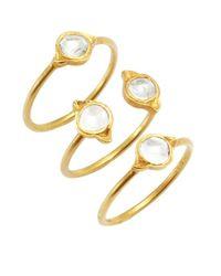 Amrapali | Metallic Set Of Three- Diamond And Gold 'Lotus' Stacking Rings | Lyst