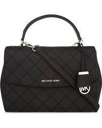 MICHAEL Michael Kors | Black Ava Medium Quilted Saffiano Leather Cross-body Bag | Lyst