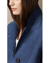 Burberry   Blue Single-Breasted Nubuck Jacket   Lyst