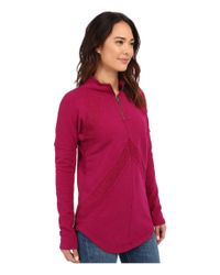 Mod-o-doc - Red Slub French Terry 1/4 Zip Funnel W/ Angle Contrast Panels - Lyst