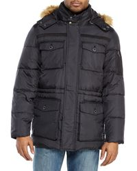 Cole Haan | Black Faux Fur Trim Hooded Parka for Men | Lyst