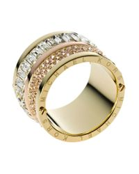 Michael Kors - Metallic Goldtone Pave And Stone Barrel Ring - Lyst