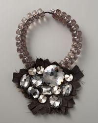 Donna Karan - Gray Bib Necklace - Lyst