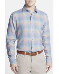 Robert Talbott - Blue 'crespi' Tailored Fit Plaid Linen Sport Shirt for Men - Lyst