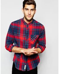 Blend | Blue Shirt Buttondown Large Check One Pocket for Men | Lyst