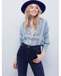 Free People - Blue Little Secrets Buttondown - Lyst