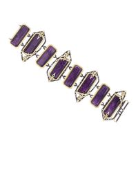Armenta | Metallic Rectangular Stone & Chain Bracelet With Diamonds | Lyst