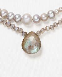 "Chan Luu - Gray Multi Strand Drop Necklace, 16"" - Lyst"