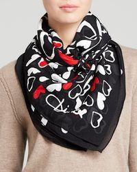 Diane von Furstenberg - Black Sketch Heart Silk Scarf - Lyst