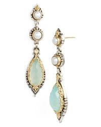 Konstantino | Green 'amphitrite' Pearl & Semiprecious Stone Drop Earrings - Sea Agate/ Pearl | Lyst
