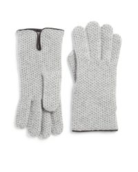 Portolano - Gray Leather-trim Honeycomb Stitched Cashmere Gloves - Lyst