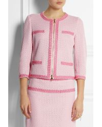 Boutique Moschino | Pink Open Waffle-Knit Cotton-Blend Jacket | Lyst