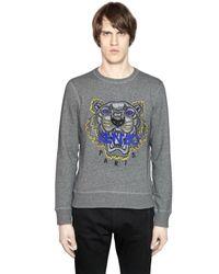 KENZO - Gray Tiger Embroidered Cotton Sweatshirt - Lyst