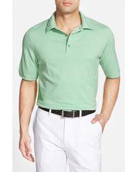 Bobby Jones - Green 'Supreme Nine Stripe' Tailored Fit Pima Cotton Golf Polo for Men - Lyst