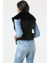 Bebe | Black Faux Suede & Faux Fur Vest | Lyst