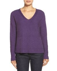 Eileen Fisher - Purple V-neck Boxy Wool Blend Sweater - Lyst