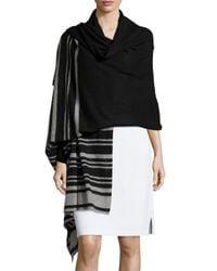 Neiman Marcus - Black Cashmere Striped-border Woven Wrap - Lyst