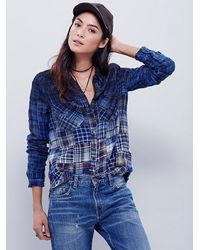 Free People - Blue Fp Collection Womens Madras Dip Dye Shirt - Lyst