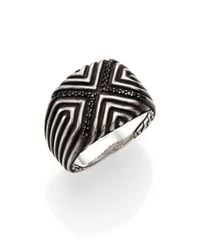 John Hardy - Metallic Bedeg Sterling Silver & Black Sapphire Ring for Men - Lyst