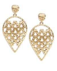 Panacea - Metallic Textured Teardrop Earrings - Lyst