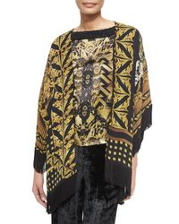 Etro - Metallic Printed Silk Jacket With Fringe - Lyst