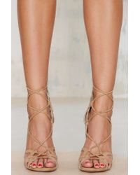 Nasty Gal | Natural Lipstik Shoes Kazzy Microsuede Heel - Beige | Lyst