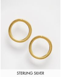 ASOS | Metallic Gold Plated Sterling Silver 12mm Circle Stud Earrings | Lyst