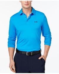Under Armour | Blue Men's Captain's Choice Long-sleeve Golf Polo for Men | Lyst