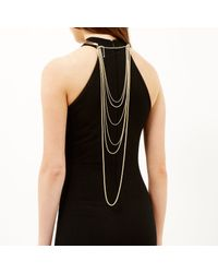 River Island | Metallic Gold Tone Torque Chain Back Detail Necklace | Lyst