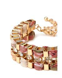 Forever 21 - Pink Woven Box Chain Bracelet - Lyst