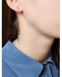 Wouters & Hendrix - Metallic Ruby Stud Chain Earring - Lyst