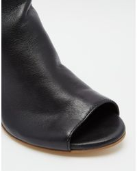 Dune | Indianna Black Leather Peep Toe Shoe Boots | Lyst