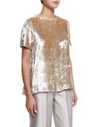 Co. - Metallic Crushed Velvet Short-sleeve Top - Lyst