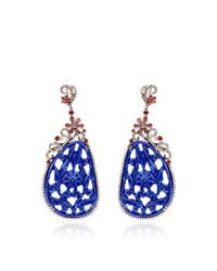 Bochic - Blue Carved Lapis Brown Diamond and Orange Sapphire Earrings - Lyst