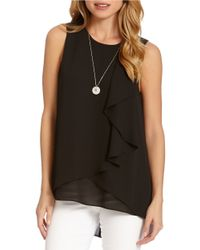 Karen Kane | Black Layered Drape Top | Lyst