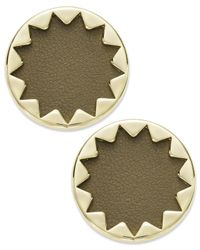 House of Harlow 1960 | Metallic Gold-tone And Khaki Leather Sunburst Button Post Earrings | Lyst