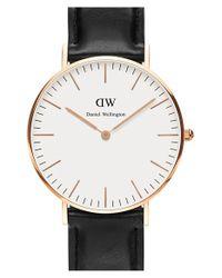 Daniel Wellington - Black 'classic Sheffield' Leather Strap Watch - Lyst