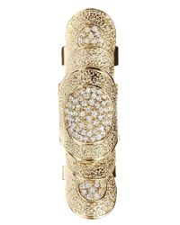 Vans - Metallic Articulated Rhinestone Armor Ring - Lyst