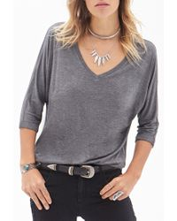 Forever 21 - Gray V-neck Dolman Top - Lyst