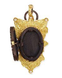 Armenta - Blue Old World Shield Locket With Diamonds - Lyst