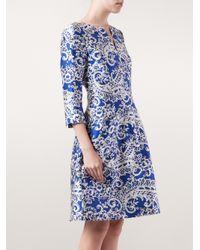 Oscar de la Renta - Blue Lace Appliquã© Dress - Lyst